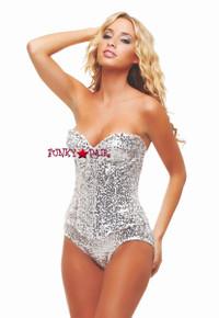Silver Sequin Showgirl Corset TL2152