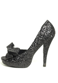 LA-5031-Diva, 5 Inch Glitter Peep Toe Pump with Bows Made by LEG AVENUE Costume Shoes