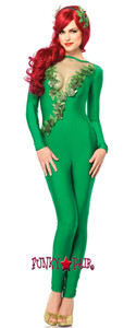2 Pc. Ivy Vixen Girl Costume, includes spandex catsuit with mesh deep-v ivy trimmed front and matching headband5