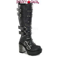 SINISTER-300, 3.5 Inch Multi Strap Knee High Women Punk boots Mady By Demonia
