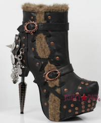GRIFFIN, Ankle Boots with Spike and Fur Trim