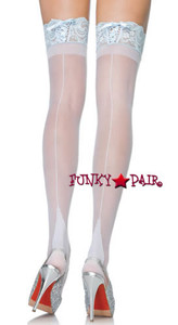 9118Q, Plus Size Sheer Backseam Lace Top Thigh Highs