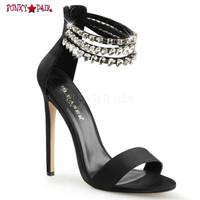 Sexy-18, 5 Inch, Stiletto Heel, Rhinestones Ankle Strap Sandal
