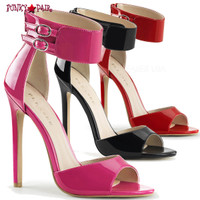 Sexy-19. 5 Inch, stiletto Heel, Dual Buckled Ankle Strap Sandal