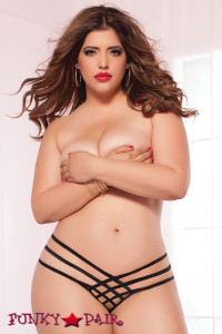 Plus Size Elastic Open Crotch Thong (STM-9979X)