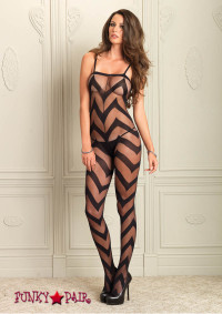 89132, Sheer Chevron Bodystocking