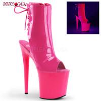 Flamingo-1018UV, 8 Inch Stiletto Heel Neon Ankle Boots