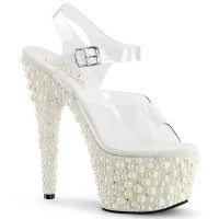Pearlize-708-2, 7 Inch Ankle Strap Sandal with Multi Pearls