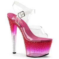 Stardust-708-2, 7 Inch Sandal with Tint and Rhinestones on Platform