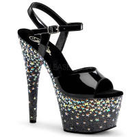 Starsplash-709, 7 Inch Ankle Strap Sandal with Stars on Platform