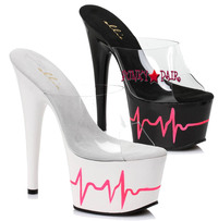 7 inch high heel with heart beat design on platform. (Made in USA)