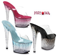 7 inch high heel with ombre tint with glitter dots on platform. (Made in USA)