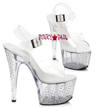 7 inch high heel ankle strap platform sandal with dots. (Made in USA)