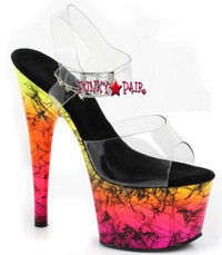 7 inch stiletto heel with ankle strap neon glow in black light platform with black haze design sandal. (Made in USA)