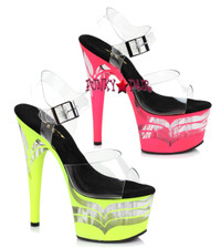 7 inch stiletto heel with UV bottom that glows in black light and clear vector on platform
