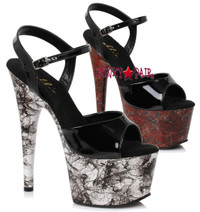 7 inch stiletto heel with ankle strap and web design on platform sandal. (Made in USA)