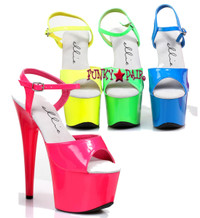 7 inch stiletto heel neon ankle strap platform.   The show glows in black light