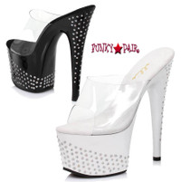 7 inch stiletto heel slide with rhinestones on platform and heel.  (Made in USA)