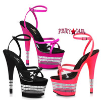 7 inch stiletto heel with clear lines on platform, and ankle wrap sandal. (Made in USA)