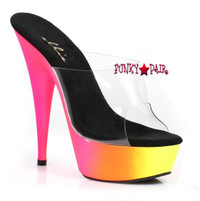 6 inch high heel rainbow design neon platform slide that glow in black light. (Made in USA)