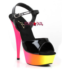 6 inch stiletto heel with neon multi color platform that glows in black light sandal. (Made in USA)