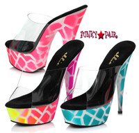 6 inch high heel with neon giraffe design on platform.  Blacklight Sensitive (Made in USA)