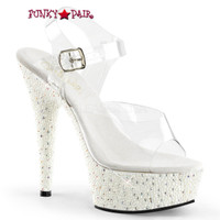 Pearlize-608, 6 Inch Sandal with Pearls and Rhinestones