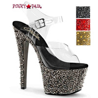 Bejeweled-708SP, 7 Inch Sandal with Rhinestones and Spike