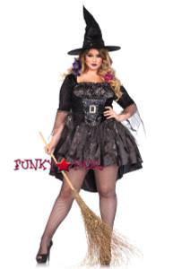 LA85475X, 2PC Black Magic Mistress Costume