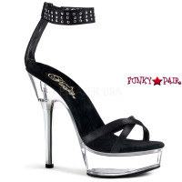 ALLURE-660, 5.5 Inch High Heel with 1.5 inch Platform Criss Cross Stap with Studds Ankle Cuff Sandal