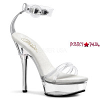 ALLURE-665, 5.5 inch High Heel with 1.5 Inch Platform Clear Strap with Ankle Cuff