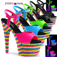 Adore-709RBS, 7 Inch Stiletto Heel Ankle Strap with Neon Reactive Platform