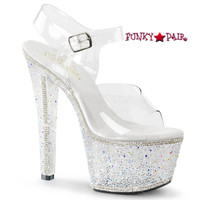 Bejeweled-708-2, 7 Inch Ankle Strap with Silver Multi Rhinestones