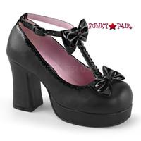 Gothika-04, 3.75 inch chunky platform t-strap bow shoes