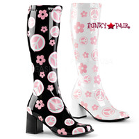 Gogo-300FL, Gogo boot with peace and floral print