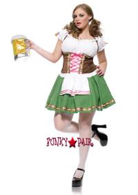 LA83311X, Gretchen Girl Costume, Gretchen costume includes, peasant top dress with satin ribbon trim