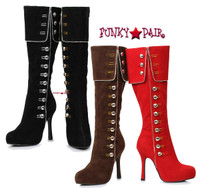 420-Elda, 4 inch Suede Knee High Boots with Buttons,COSTUME SHOES