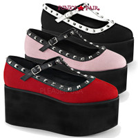 Click-07. 3.25 Inch Two Tone T-Strap Maryjane with Studds