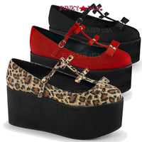 Click-08, 3.25 Inch Platform T-strap with Bows Maryjane