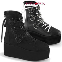 Grip-101, 2.75 inch platform Lace-up Ankle Boots