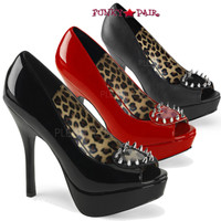 Pixie-17, 5.25 inch heel peep toe pump with Pointed Studs