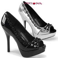 Pixie-18, 5.25 Inch peep toe pump with Lace and Spike
