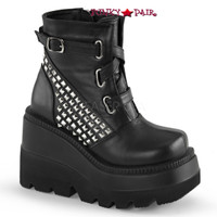 Shaker-50, 4.5 inch stacked wedge platform ankle boots