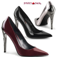 Voltage-01, 4.5 inch chrome lightning bolt heel pump