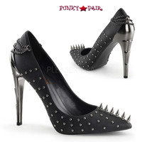 Voltage-08, 4.5 inch chrome lightning bolt heel spiky pump