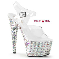 Bejeweled-708DS, 7 inch Sandal with Diamond Cut Shapes