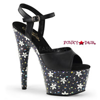 Starbloom-709, 7 inch Ankle Strap Sandal with Rhinestones and Flower Design