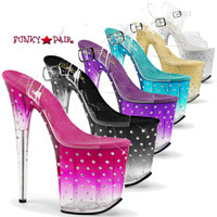 Stardust-808T, 8 inch Ankle Strap Sandal with Rhinestones and Tinted
