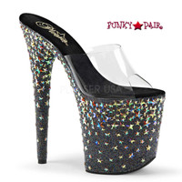 Starsplash-801, 8 Inch High Heel Slide with Halo Star