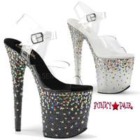 Starsplash-808, 8 Inch High Heel Ankle Strap Sandal with Halo Star